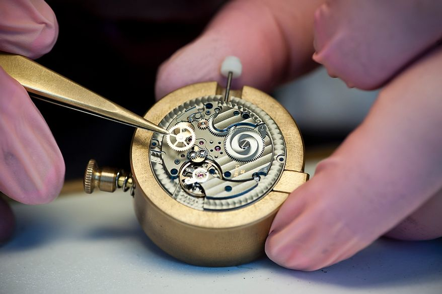 """Details show the craftsmanship: the self-winding movement """"Epsilon"""" is assembled by expert watch makers by hand in the timepiece manufactory, the so called """"Chronometrie"""", of the enterprise Nomos Glashutte, taken on Thursday, May 26, 2012. Nomos is one of only a few watchmakers worldwide with the designation of manufactory. Christian Burkert/Special to The Washington Times."""