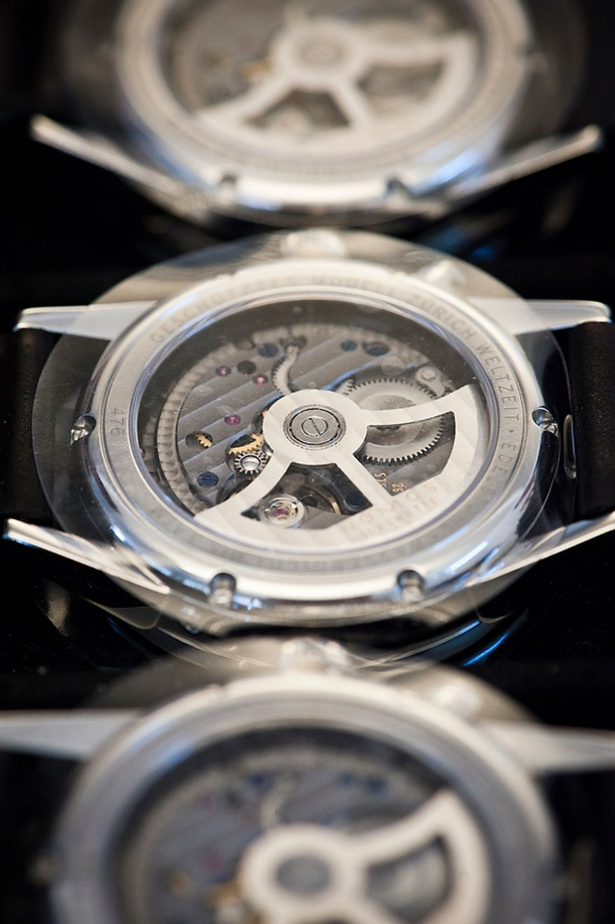 """Details of watches (here the backside of the watch """"Zurich"""") from Nomos Glashutte, taken on Thursday, May 26, 2012. Nomos is one of only a few watchmakers worldwide with the designation of manufactory. Christian Burkert/Special to The Washington Times."""