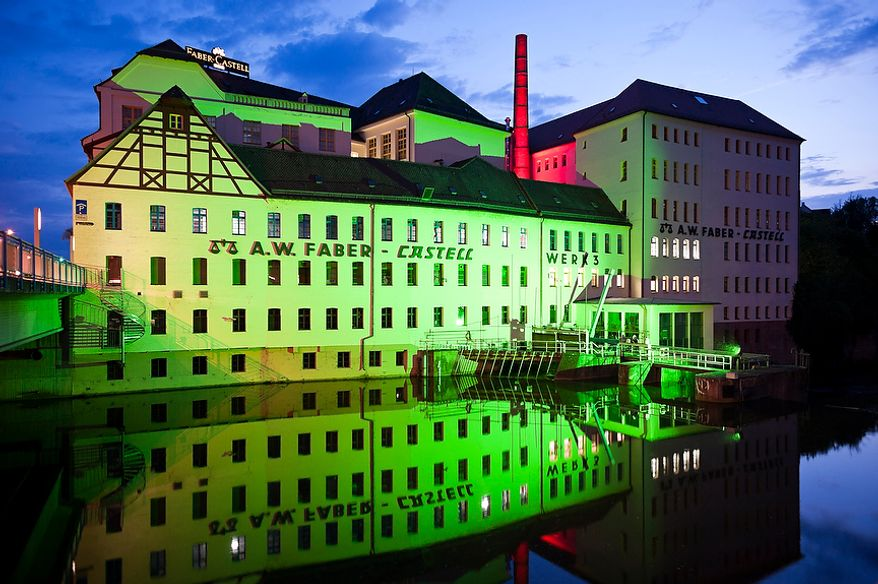 """Exterior view of the pencil lead factory of Faber-Castell in the city of Stein near Nuremberg on Wednesday, May 2, 2012. The German company Faber-Castell is one of the world's largest manufacturers of pens, pencils, other office supplies and art supplies, as well as high-end writing instruments and luxury leather goods. Faber-Castell is know for its """"Perfect Pencil"""", an ordinary lead pencil enclosed in a beautiful silver case that includes a sharpener and can be reused as each pencil wears down. Christian Burkert/Special to The Washington Times."""