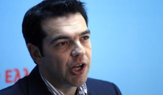 Alexis Tsipras, the leader of Greece's Radical Left Coalition party (Syriza), speaks at party headquarters in Athens on Monday, May 7, 2012. (AP Photo/Kostas Tsironis)