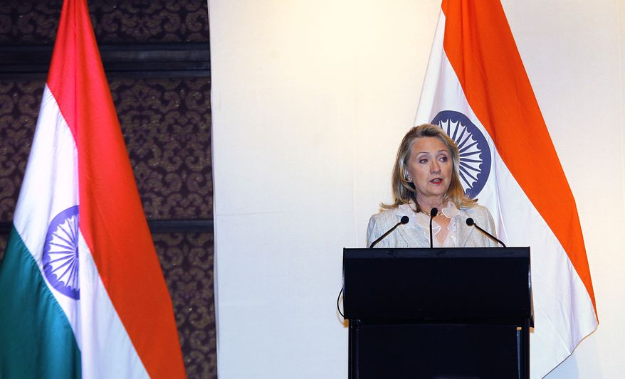 U.S. Secretary of State Hillary Rodham Clinton speaks May 8, 2012, during a joint press conference with Indian Foreign Minister S.M. Krishna in New Delhi. (Associated Press)