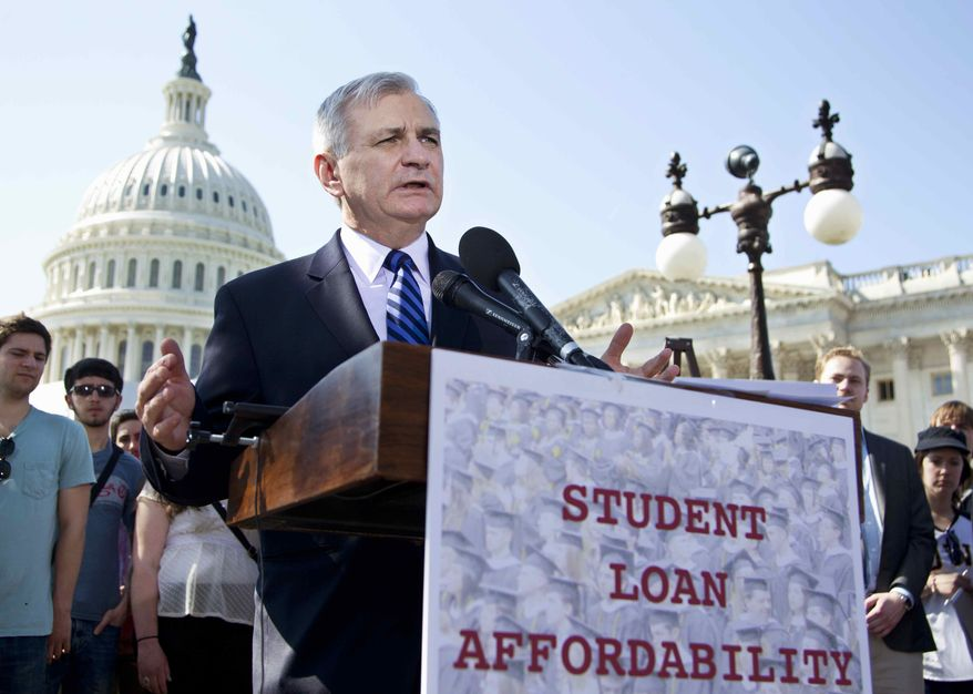** FILE ** In this March 13, 2012, file photo Sen. Jack Reed, D-R.I., joins students at a Capitol Hill news conference to announce the collection of more than 130,000 letters to Congress to prevent student loan interest rates from doubling this July. The Senate planned a Tuesday May 8, 2012, roll call on a plan, which would extend today's 3.4 percent interest rates on subsidized Stafford loans for another year. (AP Photo/Manuel Balce Ceneta, File)