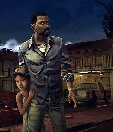 Lee Edwards, Clementine and a bunch of zombies star in the video game The Walking Dead: Episode 1 - A New Day.