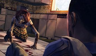 A zombie babysitter looks for a snack in the video game The Walking Dead: Episode 1 - A New Day.
