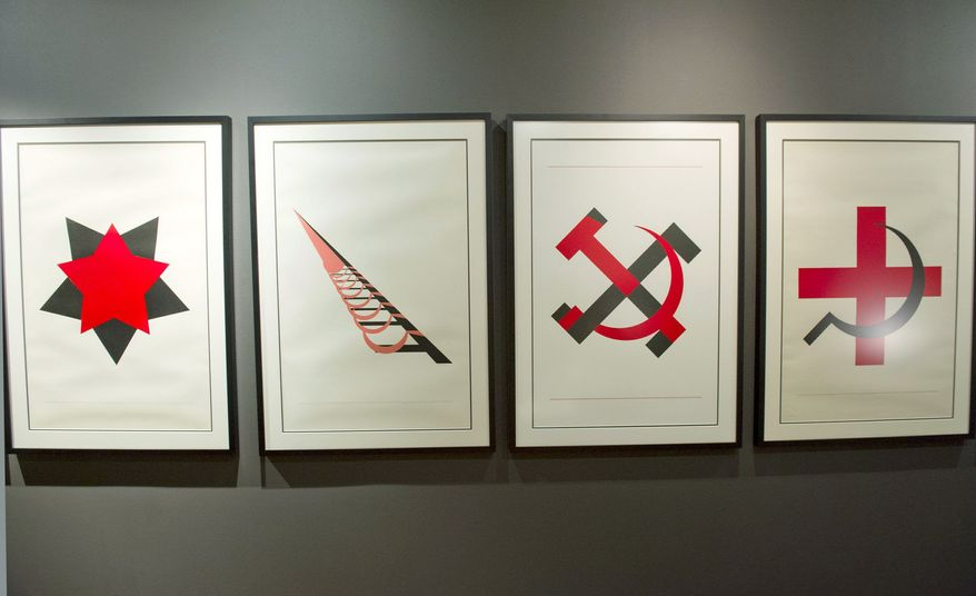 """Leonhard Lapin's """"Stalinism and Satanism"""" series turns communist iconography on its ear. He is now considered one of Estonia's most important modern artists. (Barbara L. Salisbury/The Washington Times)"""