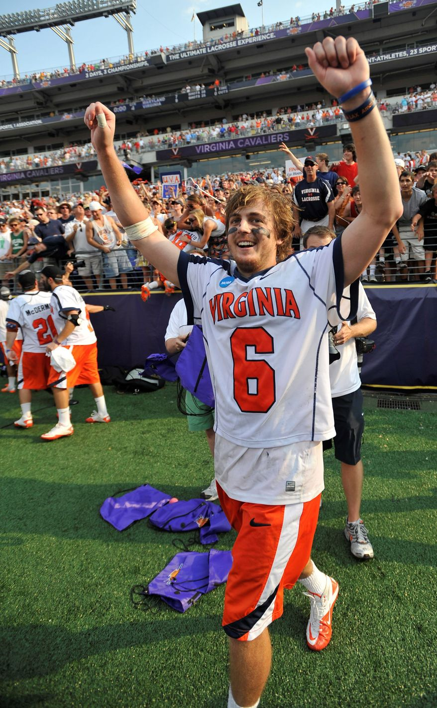 Senior attackman Steele Stanwick, celebrating last year's NCAA title, will start another tournament run Sunday. (Associated Press)