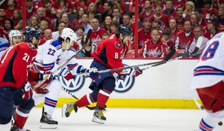 Washington Capitals left wing Alex Ovechkin cuts up ice in the first period as the Washington Capitals take on the New York Rangers in Game 6 of the Eastern Conference semifinal series at  Verizon Center in Washington, on Wednesday, May 9, 2012 (Andrew Harnik/The Washington Times)