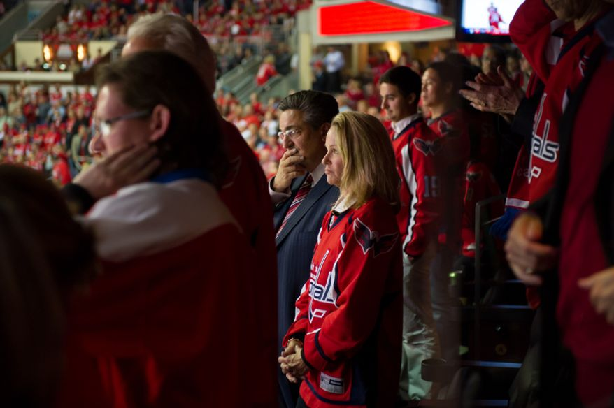 Washington Capitals owner ted leonsis looks nervous in the final minute of the third period as the Washington Capitals fight to keep their 2-1 lead over the New York Rangers in game six of the NHL eastern conference playoffs semifinals at the Verizon Center, Washington, D.C., Wednesday, May 9, 2012 (Andrew Harnik/The Washington Times)