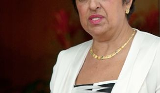 ** FILE ** Cypriot Foreign Minister Erato Kozakou-Marcoullis is pictured during a meeting with her Israeli counterpart, Avigdor Lieberman, at the Foreign Ministry in Jerusalem on Wednesday, Aug. 24, 2011. (AP Photo/Sebastian Scheiner)