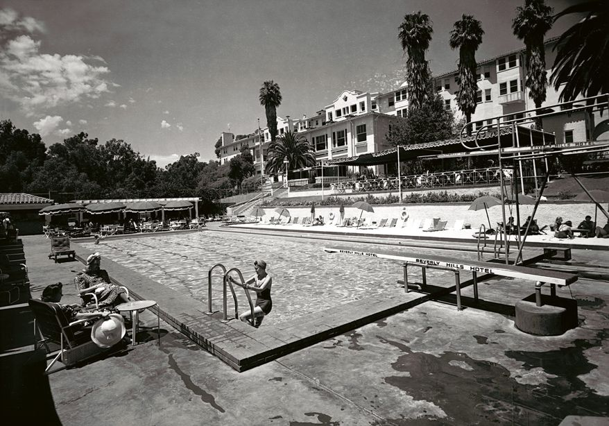 In this 1938 image, the Beverly Hills Hotel looks as glamorous as its Hollywood location. The hotel is celebrating its 100th anniversary on Saturday. (Beverly Hills Collection via Associated Press)