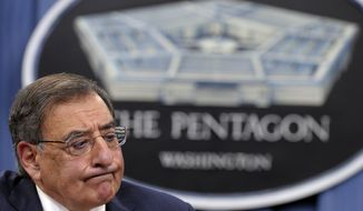 **FILE** Defense Secretary Leon E. Panetta pauses on May 10, 2012, during a briefing at the Pentagon. (Associated Press)