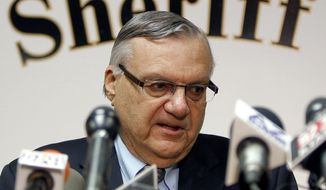 ** FILE ** Maricopa County Sheriff Joe Arpaio conducts a news conference on Jan. 10, 2012, in Phoenix. (Associated Press)