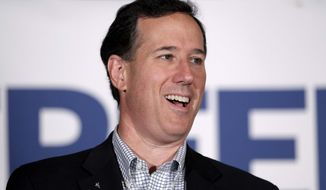 ** FILE ** In this April 2, 2012, file photo, then Republican presidential candidate former Pennsylvania Sen. Rick Santorum speaks in Shawano, Wis. (AP Photo/Jae C. Hong, File)