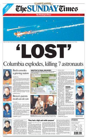 'LOST' Columbia explodes, killing 7 astronauts.