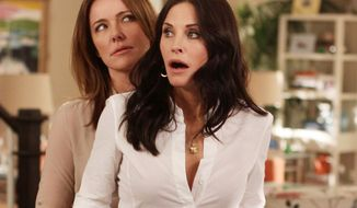 "In this publicity image released by ABC, Christa Miller, left and Courteney Cox are shown in a scene from the ABC comedy ""Cougar Town."" The ABC sitcom, a cult favorite but never a ratings blockbuster on broadcast television, will be moving to cable's TBS, the network said Thursday, May 10, 2012. (AP Photo/ABC, Michal Ansell)"