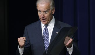 Vice President Joseph R. Biden Jr., gestures while speaking May 10, 2012, to students and educators about student loans at the White House. (Associated Press)