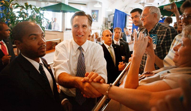 Republican presidential candidate and former Massachusetts Gov. Mitt Romney greets supporters May 10, 2012, during a campaign stop in Omaha, Neb. (Associated Press/Omaha World-Herald)