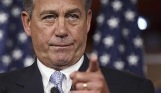 "FILE - In this May 10, 2012, file photo House Speaker John Boehner, R-Ohio, takes questions during a news conference on Capitol Hill in Washington. ""I'm gonna stay focused on jobs, thanks,"" Boehner said the day after President Barack Obama's embrace of gay marriage swirled through the political world. ""The president can talk about it all he wants. I'm gonna stay focused on what the American people want us to stay focused on,"" he said. (AP Photo/J. Scott Applewhite, File)"
