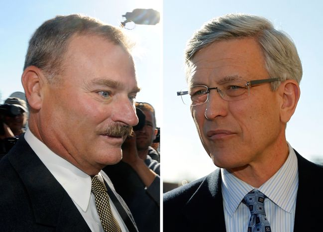 ** FILE ** Former Penn State Vice President Gary Schultz (left) and Tim Curley (right), who is on leave as the school's athletic director, enter a district judge's office for an arraignment in Harrisburg, Pa., in November 2011. (AP Photos/Brad Bower [left] and Matt Rourke [right])