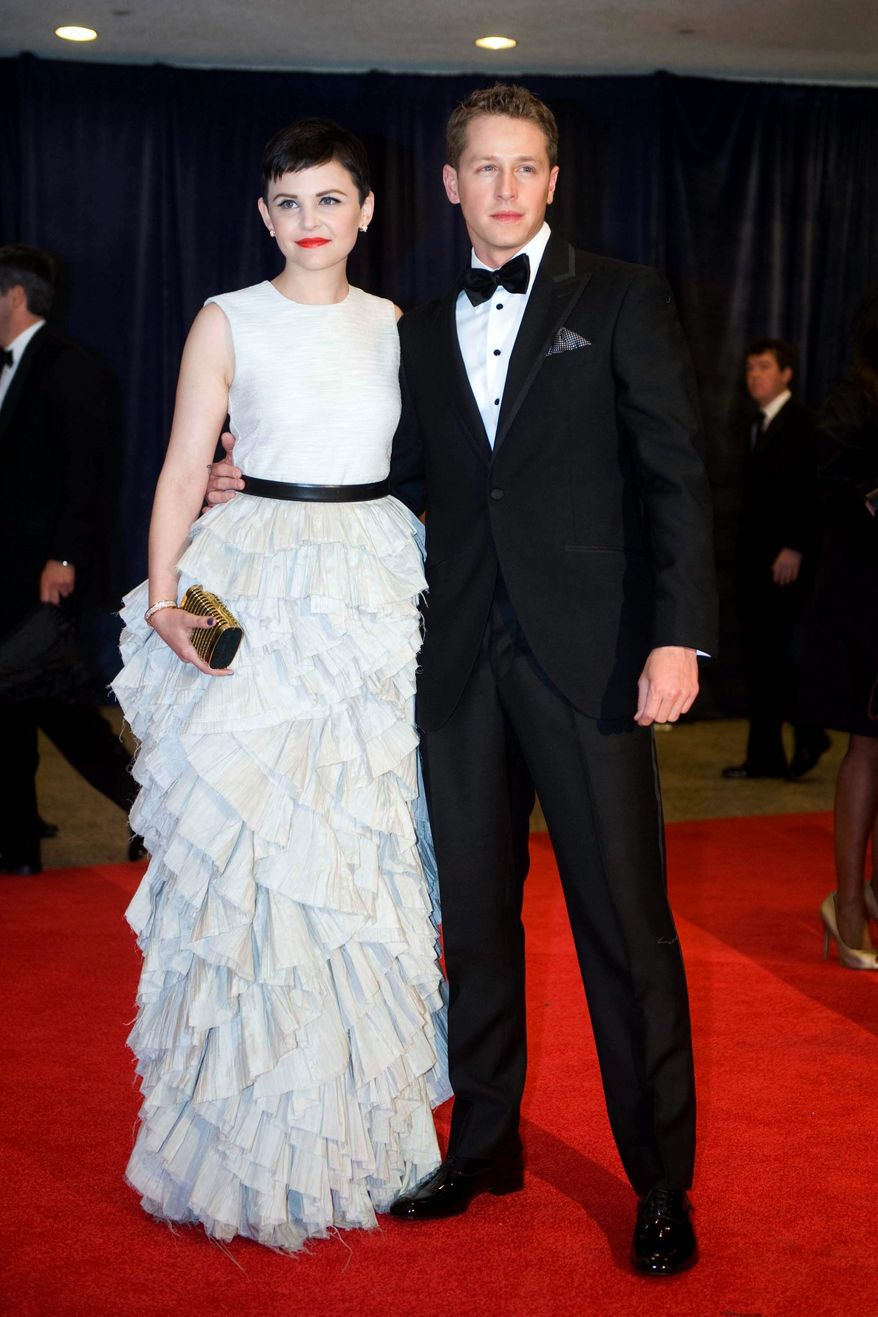 Actress Ginnifer Goodwin and Josh Dallas arrive at the White House Correspondents' Association Dinner. She is wearing a $299 dress she got from H&M. (Associated Press)