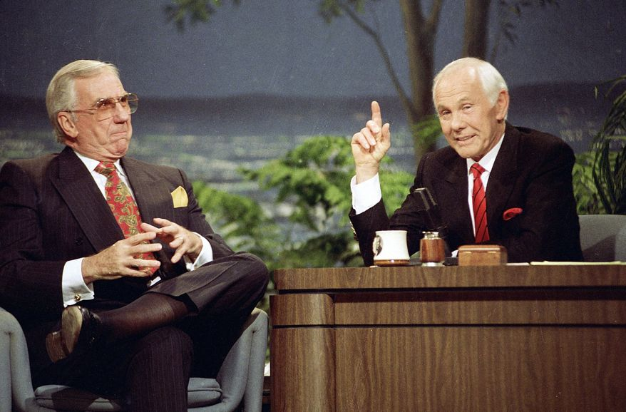 """Johnny Carson, with sidekick Ed McMahon (left), reigned for nearly 30 years on late-night TV. His nightly viewership, averaging as much as 15 million, was more than the current audience of """"Tonight"""" successor Jay Leno and CBS rival David Letterman combined. (Associated Press)"""