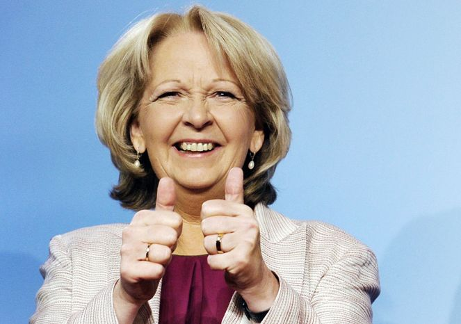 Social Democratic Party top candidate for the state elections of North Rhine-Wesphalia, Hannelore Kraft, celebrates Sunday after first results are made public in Duesseldorf, Germany. The nation's industrial and most populous state gave the center-left party 39 percent of the vote. (Associated Press)