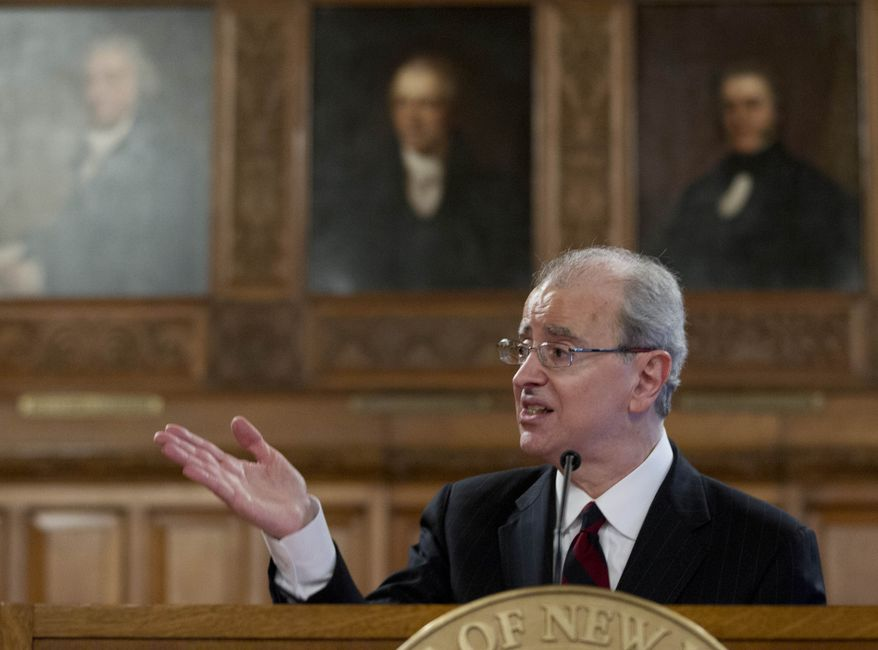 Chief Judge Jonathan Lippman speaks during a Law Day ceremony at the Court of Appeals in Albany, N.Y., on Tuesday, May 1, 2012. (AP Photo/Mike Groll)