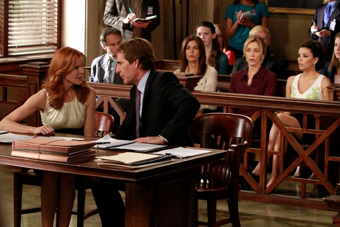 "Marcia Cross (left) and Scott Bakula appear with, from right, Eva Longoria, Felicity Huffman and Teri Hatcher in a scene from the series finale of ""Desperate Housewives."" The show wrapped up its eight-season run on ABC. (Associated Press)"