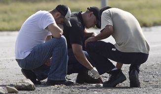 Forensic experts examine the area in which 49 mutilated bodies were found on a highway connecting the northern Mexican metropolis of Monterrey to the U.S. border in the town of San Juan, Mexico, on Sunday, May 13, 2012. (AP Photo/Christian Palma)
