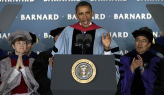 President Obama delivers the commencement address May 14, 2012, to graduates at all-female Barnard College on the campus of Columbia University in New York. Barnard was the first college in New York City where women could receive the same liberal arts education available to men. (Associated Press)