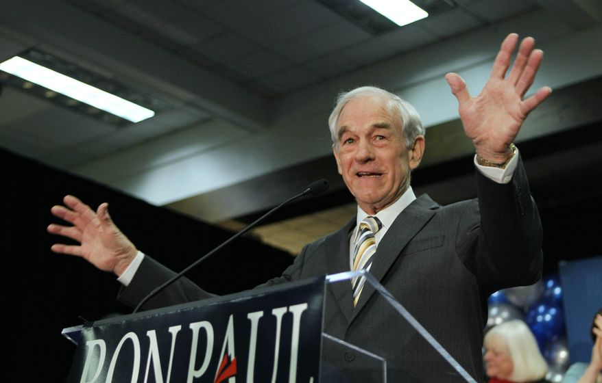 **FILE** Republican presidential candidate and Texas Rep. Ron Paul speaks Feb. 11, 2012, to his supporters following his loss in the Maine caucus to Mitt Romney, in Portland, Maine. (Associated Press)