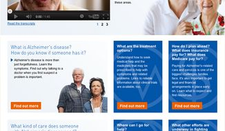This image from the Health and Human Services' new website alzheimers.gov shows the home page. (Associated Press/HHS)