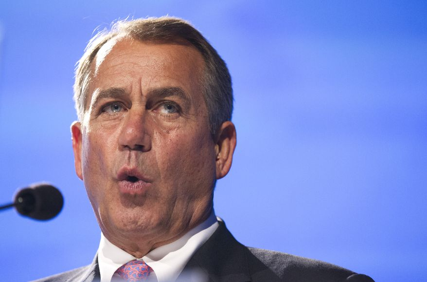 House Speaker John Boehner of Ohio speaks at the Peter G. Peterson Foundation's 2012 Fiscal Summit, Tuesday, May 15, 2012, in Washington. (AP Photo/Manuel Balce Ceneta)