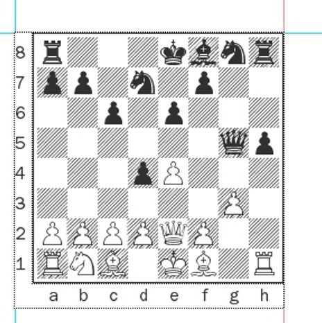 Stripunsky-Onischuk after 10...Qd8xg5.