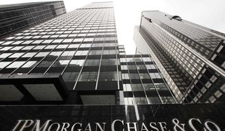 ** FILE ** A JPMorgan office building is shown, Monday, May 14, 2012, in New York. (AP Photo/Mark Lennihan)