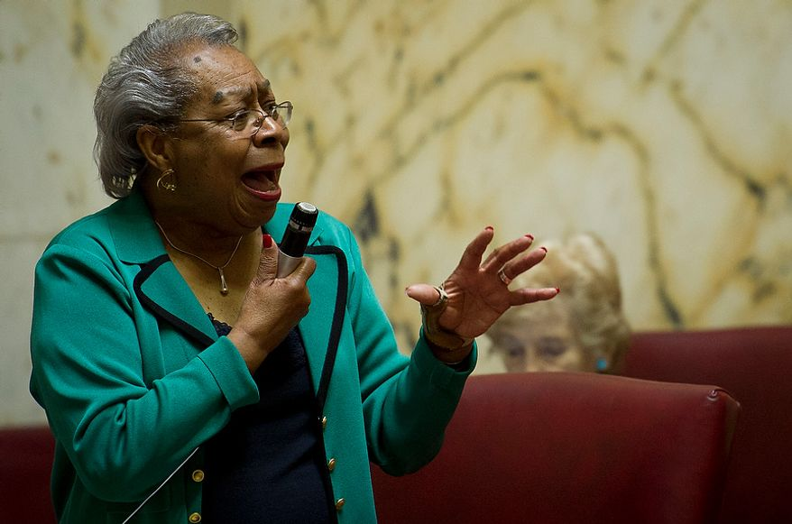 Maryland State Senator Delores Goodwin Kelley (D-District 10) makes an emotional plea to pass Maryland Senate Bill 1302, during the second day of the General Assembly special session at the Maryland State House in Annapolis, Md., Tuesday, May 15, 2012. (Rod Lamkey Jr/The Washington Times)