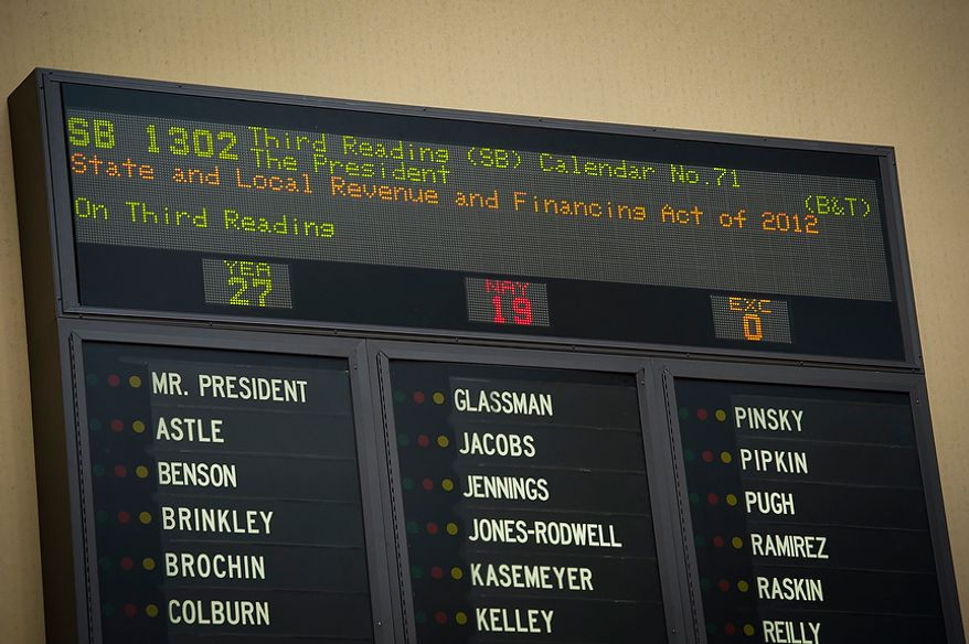 The board shows the votes of Maryland Senate Bill 1302 during the second day of the General Assembly special session at the Maryland State House in Annapolis, Md., Tuesday, May 15, 2012. (Rod Lamkey Jr/The Washington Times)