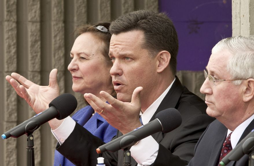 Nebraska state Sen. Deb Fischer (left), state Attorney General Jon Bruning (center) and state Treasurer Don Stenberg vie for the Republican nomination in one of the nation's most hotly contested U.S. Senate races during a debate in Omaha, Neb., on Sunday, April 15, 2012. (AP Photo/Nati Harnik)