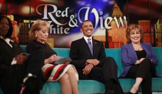 "President Obama appears May 14, 2012, on the ABC's television show ""The View"" in New York. From left are Whoopi Goldberg, Barbara Walters, the president and Joy Behar. (Associated Press)"