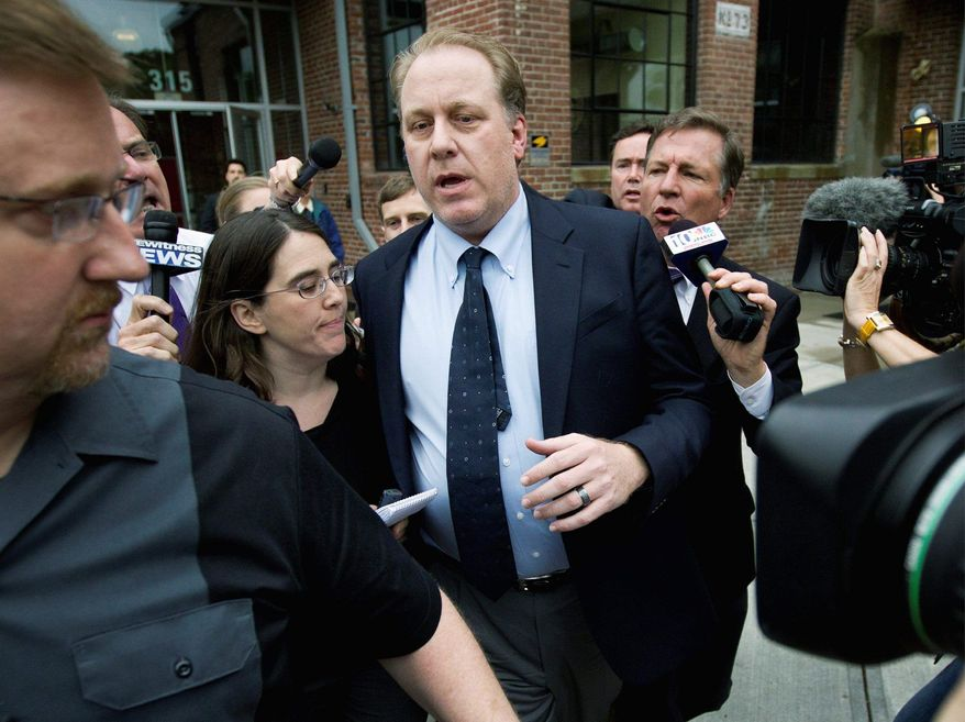 Curt Schilling (center) is followed May 16, 2012, by reporters after he left the Rhode Island Economic Development Corp., where he briefed Gov. Lincoln Chafee and others about his video game firm's financial troubles. He's seeking state help. (Associated Press)