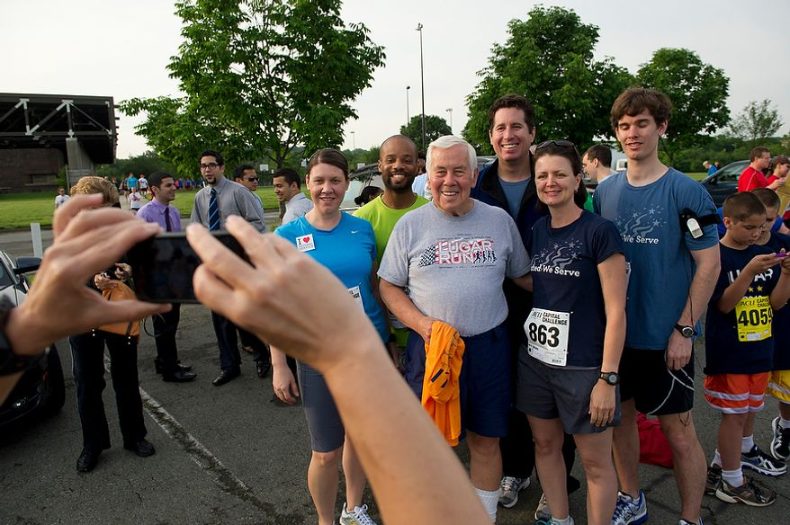 Senator Richard Lugar (R-Ind.) poses with friends prior to the ACLI Capital Challenge at Anacostia Park in Washington, D.C., Wednesday, May 16, 2012. This is the 31st running of the three-mile race where members of Congress, national media outlets and locals take part in this fundraising event in the early morning hours along the water of the Anacostia River.  (Rod Lamkey Jr/The Washington Times)
