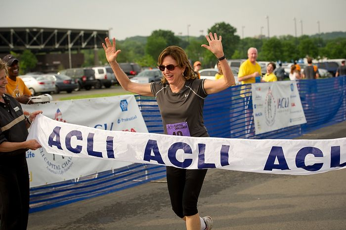 Senator Kay Hagan (D-N.C.) crosses the finish line during the ACLI Capital Challenge at Anacostia Park in Washington, D.C., Wednesday, May 16, 2012. This is the 31st running of the three-mile race where members of Congress, national media outlets and locals take part in this fundraising event in the early morning hours along the water of the Anacostia River.  (Rod Lamkey Jr/The Washington Times)