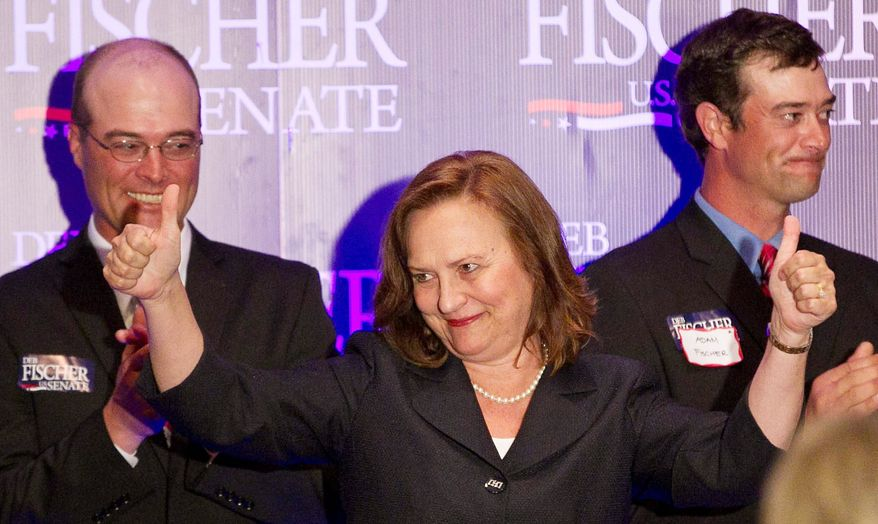 Nebraska state Sen. Deb Fischer was pushed to victory Tuesday in her state's Republican Senate primary by the Ending Spending Fund super PAC, which spent more than $250,000 on media advertisements either supporting her or opposing fellow candidate Jon Bruning in the final days of the race. (Omaha World-Herald via Associated Press)