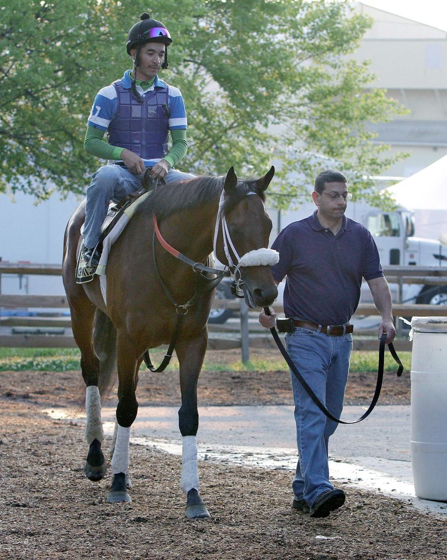 "Optimizer, under exercise rider Joel Cano, isn't generating much buzz, but trainer D. Wayne Lukas isn't worried. ""I've had the highs and the lows in this particular race. I'm very comfortable with what I've got, what I'm doing,"" he said. (Associated Press)"