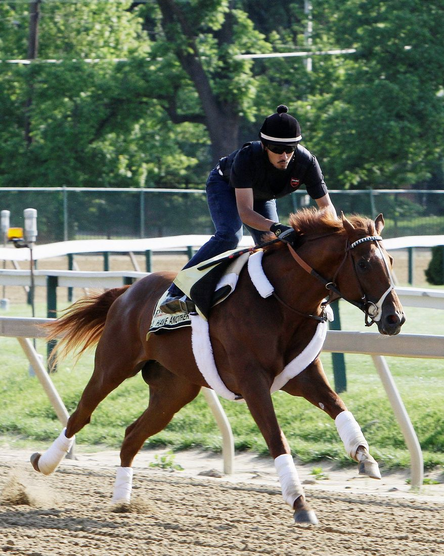 Exercise rider Johnny Garcia rides Kentucky Derby winner and Preakness hopeful I'll Have Another during a morning workout at Pimlico Race Course, Thursday, May 17, 2012, in Baltimore. The Preakness Stakes horse race takes place on Saturday.(AP Photo/Garry Jones)