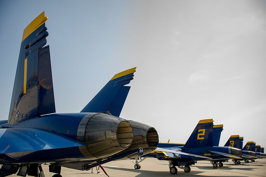 The U.S. Navy's Blue Angels flight demonstration squadron sit on the runway at Andrews Air Force Base before the 2012 Joint Service Open House and Air Show is held at Andrews Air Force Base Saturday May 19th and Sunday May 20th, Naval Air Facility, Md., Thursday, May 17, 2012. (Andrew Harnik/The Washington Times)
