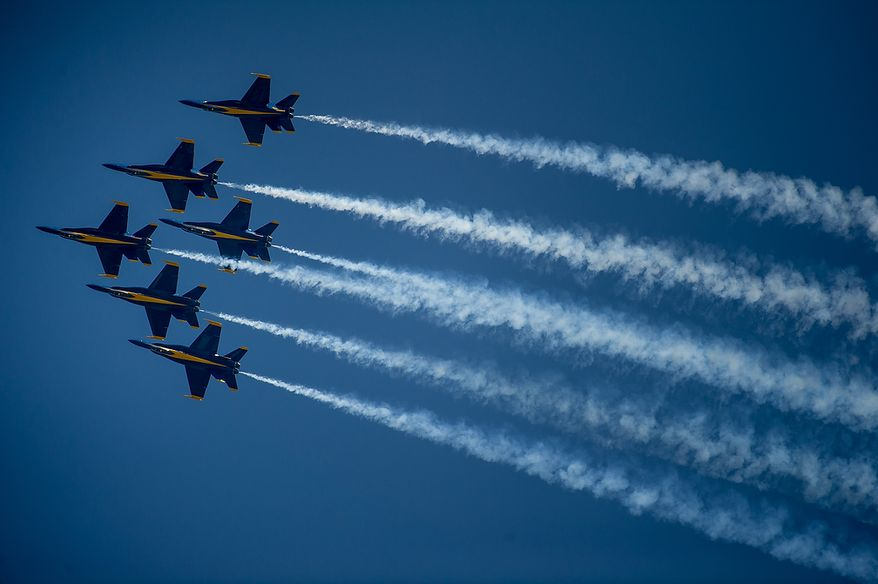 The U.S. Navy's Blue Angels flight demonstration squadron participates in an afternoon practice in preparation for the 2012 Joint Service Open House and Air Show to be held at Andrews Air Force Base Saturday May 19th and Sunday May 20th, Naval Air Facility, Md., Thursday, May 17, 2012. (Andrew Harnik/The Washington Times)