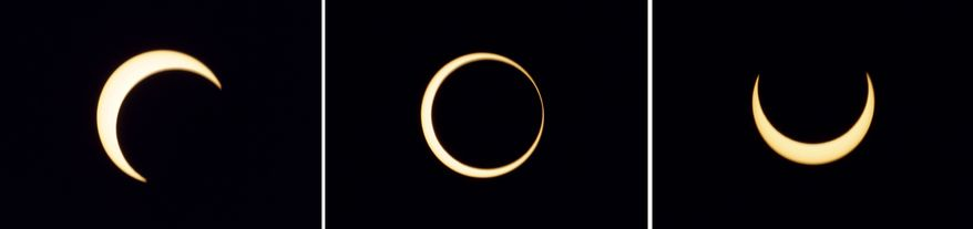 "The various stages of an annular solar, or ""ring of fire,"" eclipse over Anuradhapura, Sri Lanka, are pictured on Jan. 15, 2010. (AP Photo/Eranga Jayawardena)"