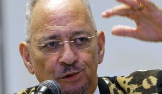 The Rev. Jeremiah Wright, pastor emeritus of the Trinity United Church of Christ in Chicago, speaks in Jackson, Miss., on March 25, 2012. (Associated Press) ** FILE **