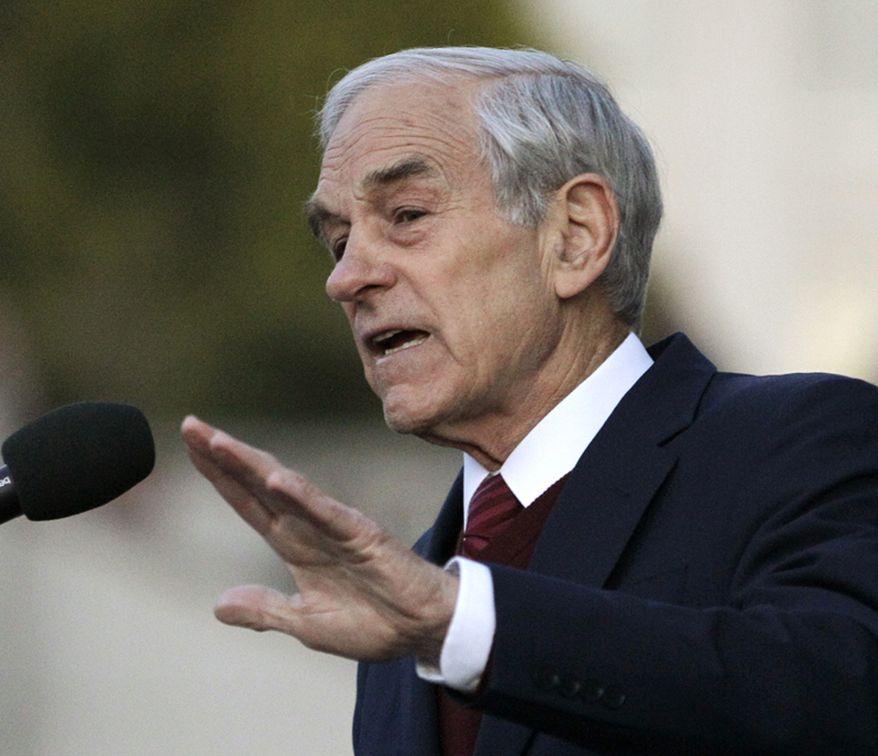 **FILE** Rep. Ron Paul, Texas Republican, speaks April 5, 2012, in Berkeley, Calif. (Associated Press)